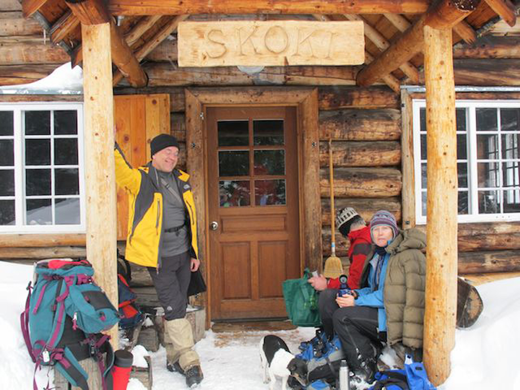 Walter, Steve and Jane stop in at the historic Skoki Lodge.